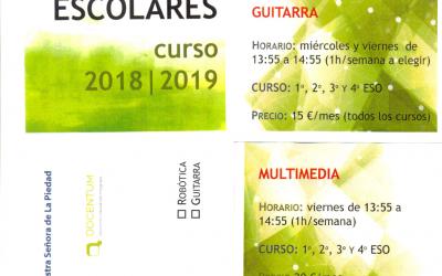 Comedor escolar-biblioteca y actividades extraescolares para el curso 2018-2019